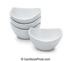 Group of white porcelain dip bowls