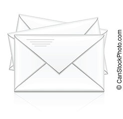group of white postal envelope vector illustration isolated on background