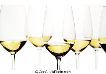 White Wine - Group Of White Wine Glasses, selective focus