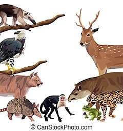group of wild animals characters
