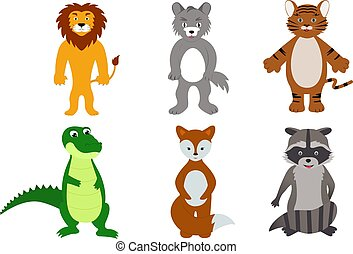 group of wild animals, kind characters, vector illustration