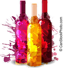 Group of wine bottles vith grunge splashes. Red, rose and ...