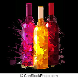 Group of wine bottles with grunge splashes. Red, rose and...