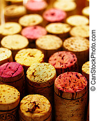 group of wine corks, tops closeup