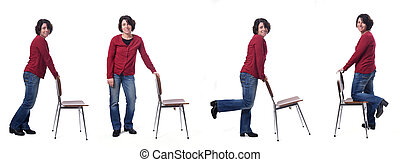 group of woman standing with a chair in white background