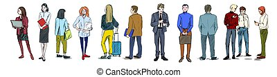 Group of women and men in different clothes, color sketch