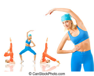 Group of women doing fitness exercise isolated on white. Lots of possibilities to put your text on