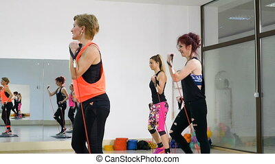 Group of women doing healthy lifestyle aerobics training together