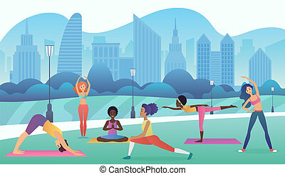 Group of women doing yoga in the park with modern city background. Trendy gradient color vector illustration.