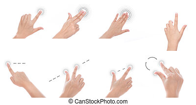 Group of Women hand use multi-touch gestures for tablets or...