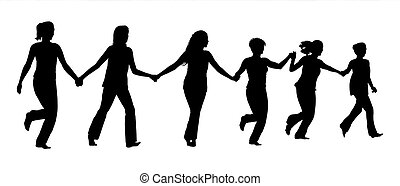 group of women holding hands and running together -...