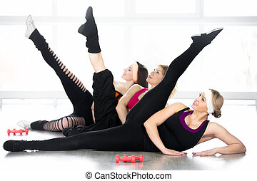 Group of women on fitness lesson