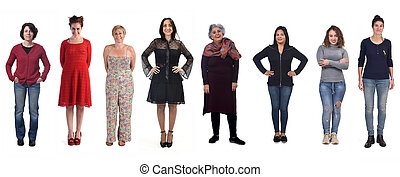 group of women on white background