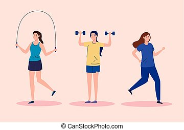group of women practicing exercise, lifestyle sport vector ...
