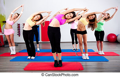 Group of women, stretching