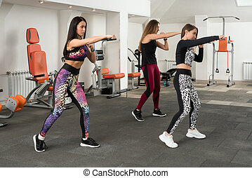 Group of women training in a gym shot