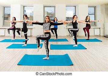 Group of women training in a gym view
