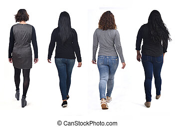 group of women waling on white background, rear  view