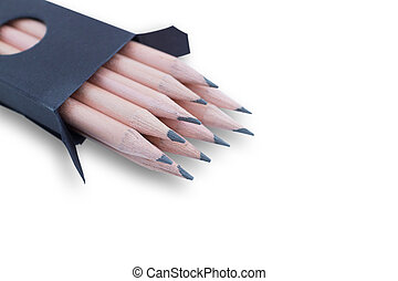 Group of wood pencils isolated on white background
