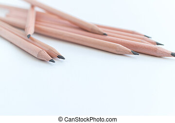 Group of wood pencils on white background