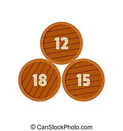 Group of wooden barrel icon, flat style
