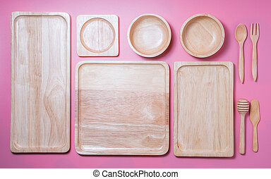 Group of wooden plate and bowl