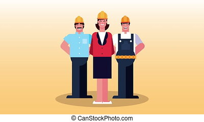 group of workers characters animation