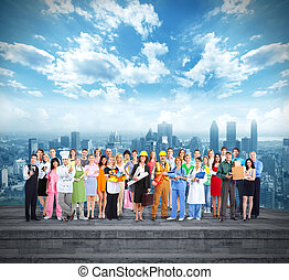 Group of workers people over urban background