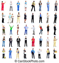 Group of workers people set. - Large group of smiling...