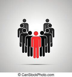 Group of workers silhouette with leader, simple black icon with shadow on gray