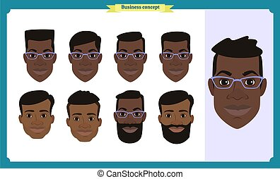 Group of working people, business black american man avatar icons. Flat design people characters. Business avatars set. Isolated vector. Face template for design, animation. Smiling. People