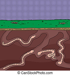 Group of Worms Tunneling