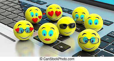 Group of yellow emojis on a laptop. 3d illustration