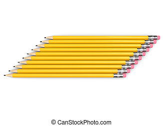Group of yellow graphite pencils stacked neatly side by side