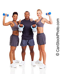 group of young adult exercising over white background