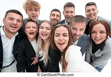 group of young business people looking at the camera