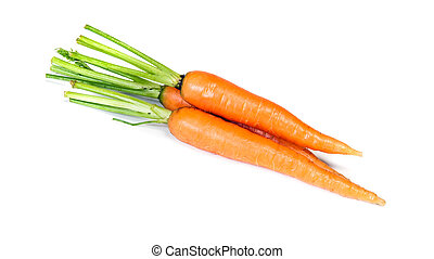 Group of young carrots isolated on white