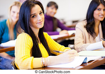 young female college students in classroom