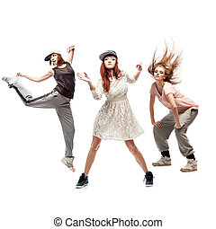 group of young femanle hip hop dancers on white background...