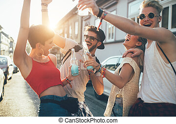 Group of young friends having fun together