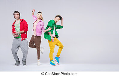 Group of young friends in funny pose