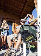 group of young hikers preparing excursion