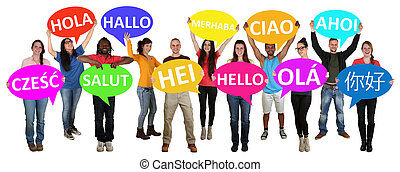 Group of young multi ethnic people holding speech bubbles ...