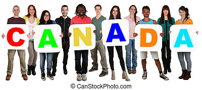 Group of young multi ethnic people holding word Canada - ...