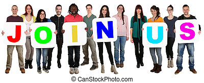Group of young multi ethnic people holding word join us