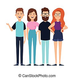 group of young people characters