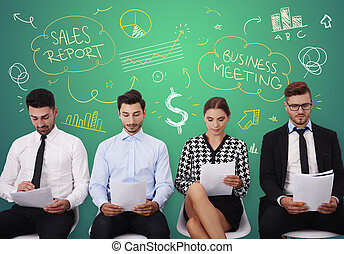 Group of young people during business meeting