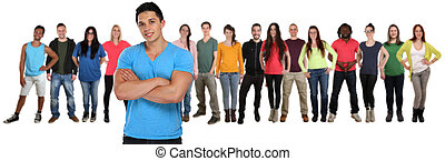 Group of young people friends team with crossed arms isolated on white