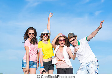 Group of young people having fun