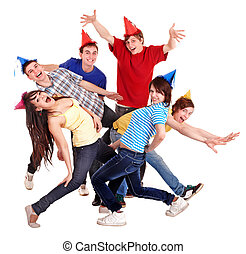 Group of young people in party hat